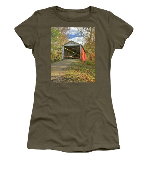 Women's T-Shirt (Junior Cut) featuring the photograph The Wilkins Mill Covered Bridge by Harold Rau