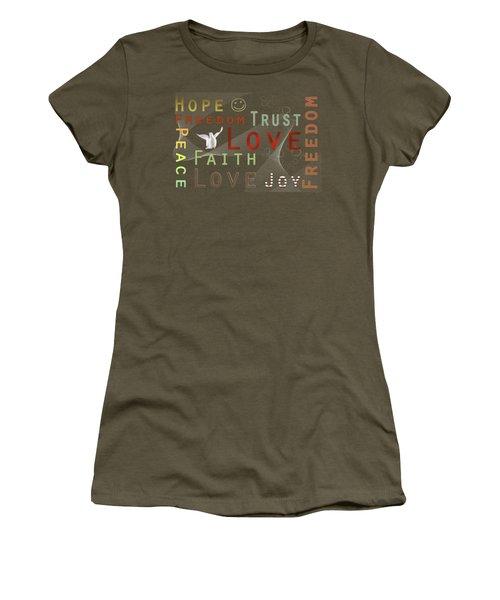 Think Positive Women's T-Shirt (Junior Cut) by Jutta Maria Pusl
