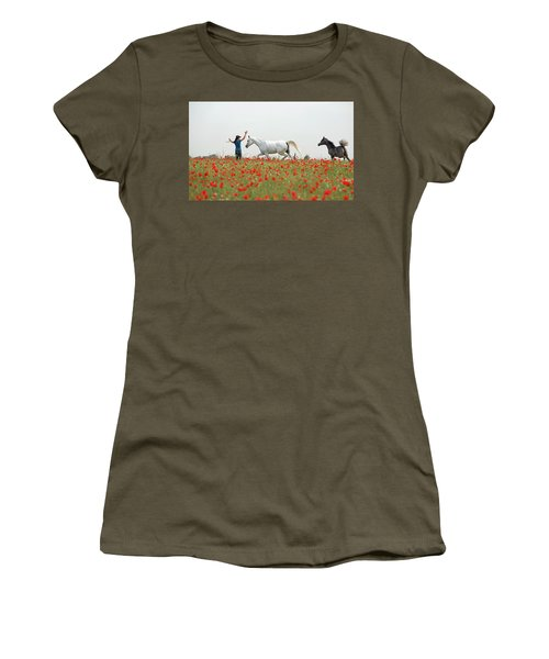 Three At The Poppies' Field Women's T-Shirt (Junior Cut) by Dubi Roman