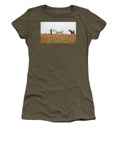 Three At The Poppies' Field Women's T-Shirt