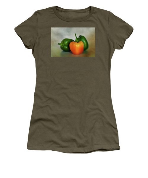 Women's T-Shirt (Junior Cut) featuring the photograph Three Bell Peppers by David and Carol Kelly