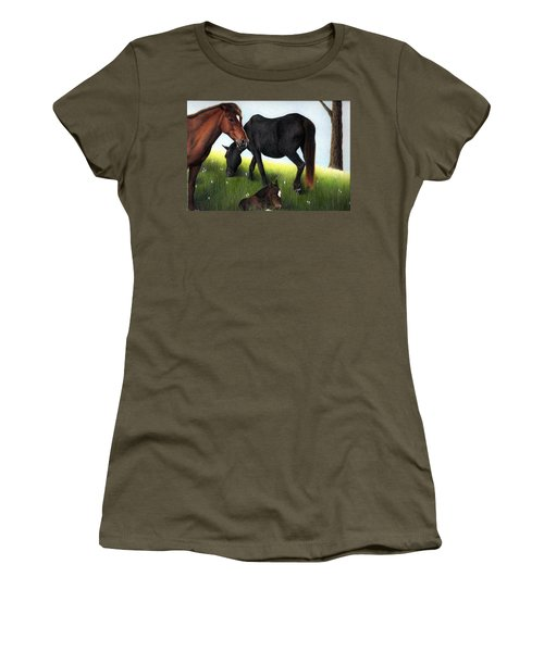 Three Horses Women's T-Shirt (Athletic Fit)