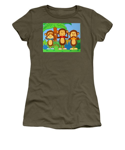 Three Monkeys No Evil Women's T-Shirt (Athletic Fit)