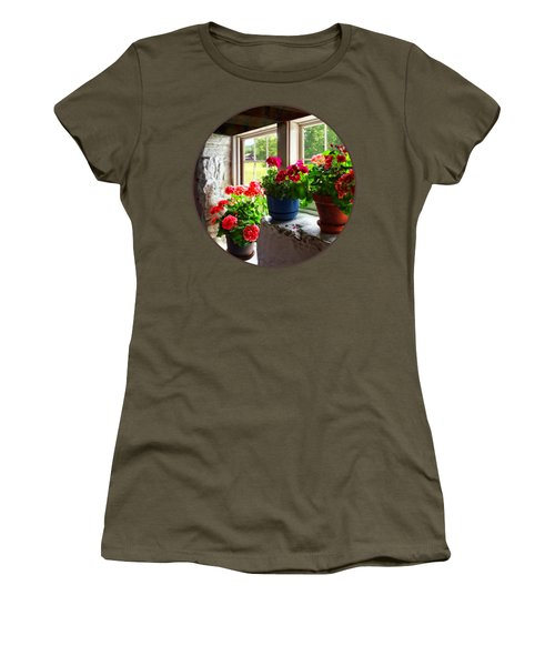 Three Pots Of Geraniums On Windowsill Women's T-Shirt