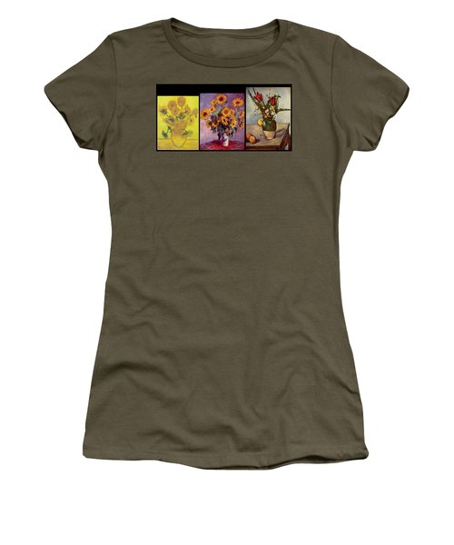 Three Vases Van Gogh - Cezanne Women's T-Shirt (Athletic Fit)