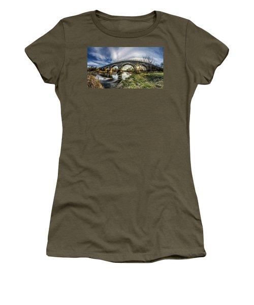 Tiffany Bridge Panorama Women's T-Shirt (Junior Cut) by Randy Scherkenbach