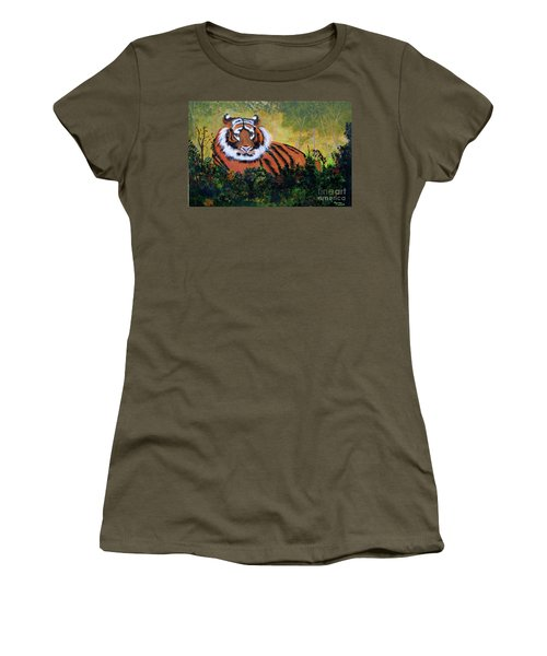 Tiger At Rest Women's T-Shirt (Junior Cut) by Myrna Walsh