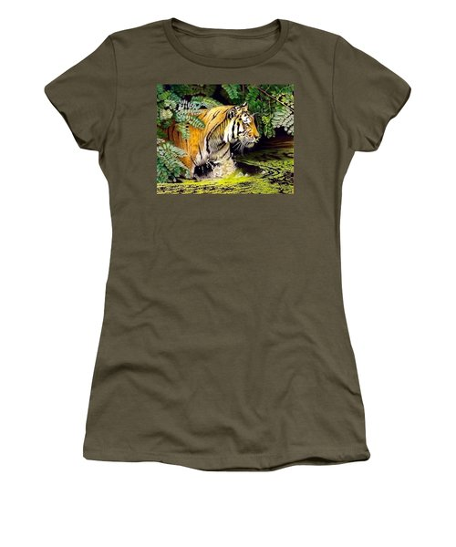 Tiger In The Dundurban Delta Women's T-Shirt (Athletic Fit)