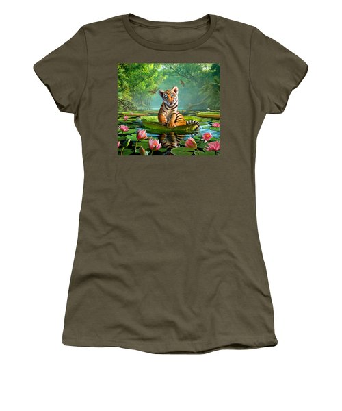 Tiger Lily Women's T-Shirt (Junior Cut) by Jerry LoFaro