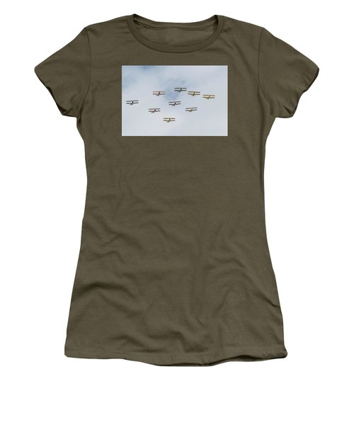 Women's T-Shirt (Athletic Fit) featuring the photograph Tiger Moth Formation by Gary Eason