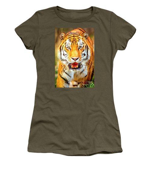 Tiger On The Hunt Women's T-Shirt (Junior Cut) by David Millenheft
