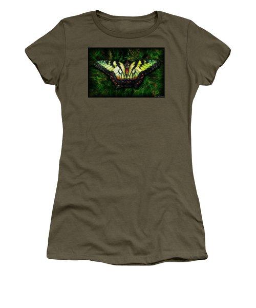 Women's T-Shirt (Junior Cut) featuring the photograph Tiger Swallowtail by Iowan Stone-Flowers
