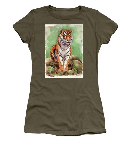 Tiger Watercolor Sketch Women's T-Shirt (Junior Cut) by Margaret Stockdale