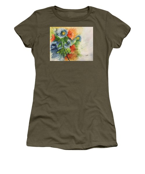 Tigerlilies And Cornflowers Women's T-Shirt (Junior Cut) by Lucia Grilletto