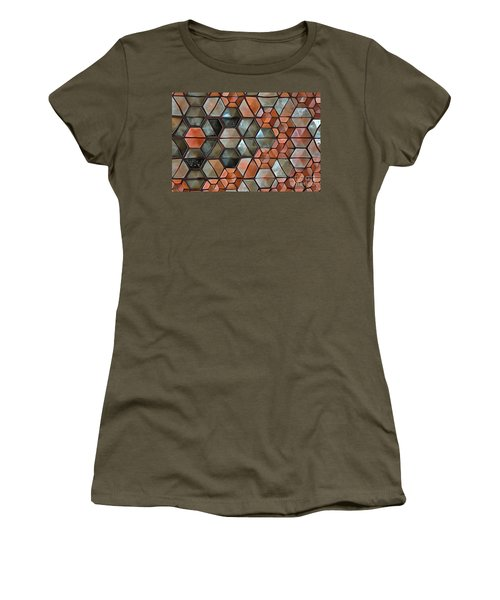 Women's T-Shirt (Athletic Fit) featuring the painting Tiles Abstract by Edward Fielding
