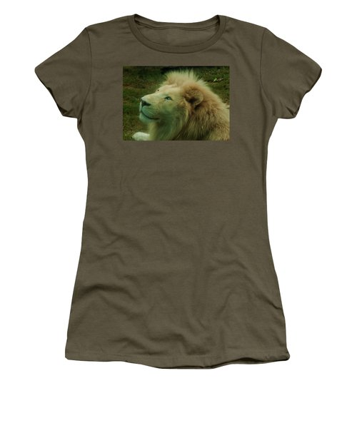 Women's T-Shirt (Athletic Fit) featuring the photograph Timbavati White Lion by Chris Flees