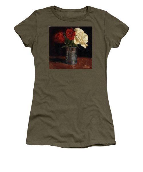 Women's T-Shirt (Junior Cut) featuring the painting Tin Can Love by Billie Colson
