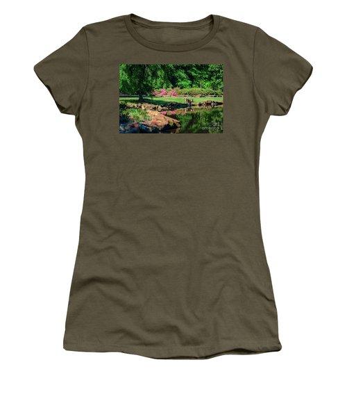Taking A Break At The Azalea Pond Women's T-Shirt (Junior Cut) by Tamyra Ayles