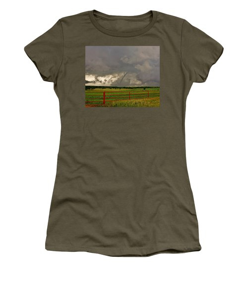 Women's T-Shirt (Athletic Fit) featuring the photograph Tornado At The Ranch by Ed Sweeney