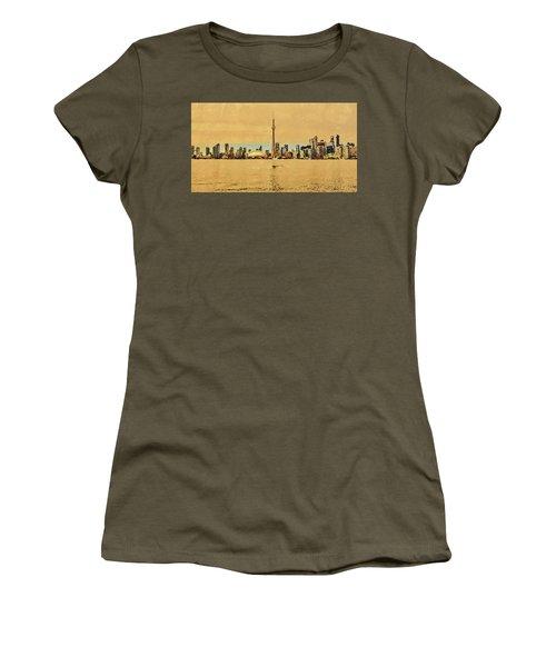 Women's T-Shirt (Athletic Fit) featuring the digital art Toronto Skyline Panorama by PixBreak Art