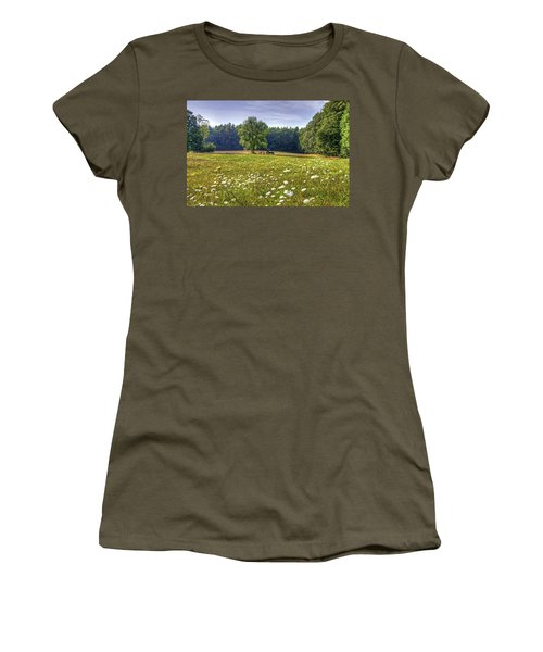 Tractor In Field With Flowers Women's T-Shirt