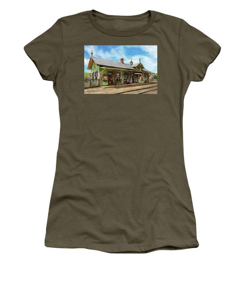 Women's T-Shirt (Junior Cut) featuring the photograph Train Station - Garrison Train Station 1880 by Mike Savad