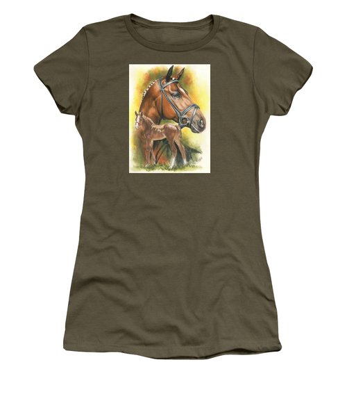 Women's T-Shirt (Junior Cut) featuring the mixed media Trakehner by Barbara Keith
