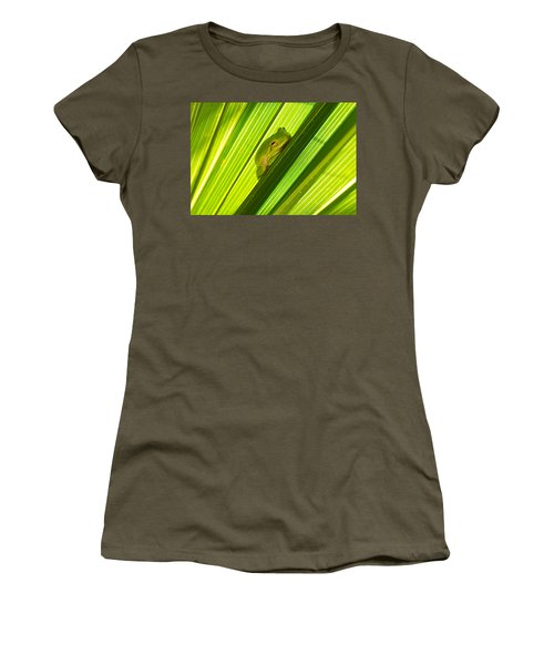 Tree Frog And Palm Frond Women's T-Shirt (Junior Cut) by Kenneth Albin