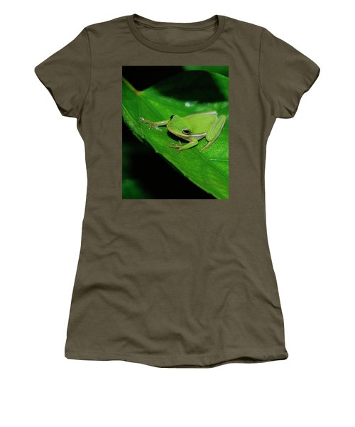 Tree Frog On Hibiscus Leaf Women's T-Shirt (Junior Cut) by DigiArt Diaries by Vicky B Fuller