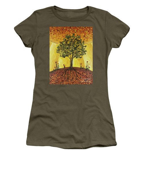 Women's T-Shirt featuring the painting Tree Of Life by Maria Langgle