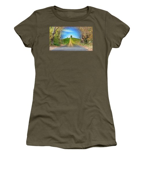 Tree On The Hill Montage Women's T-Shirt