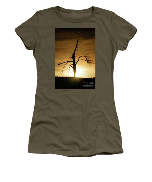 Tree Silhouette At Sundown Women's T-Shirt