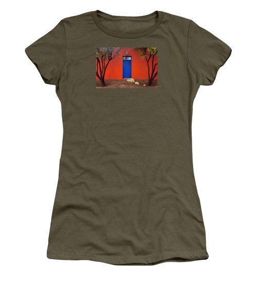 Women's T-Shirt (Junior Cut) featuring the photograph Trees And Door - Barrio Historico - Tucson by Nikolyn McDonald