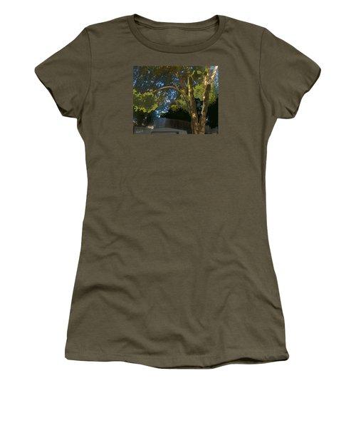 Women's T-Shirt (Junior Cut) featuring the digital art Trees In Park by Walter Chamberlain