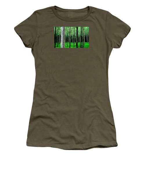Women's T-Shirt featuring the digital art Trees In Rows by Julian Perry