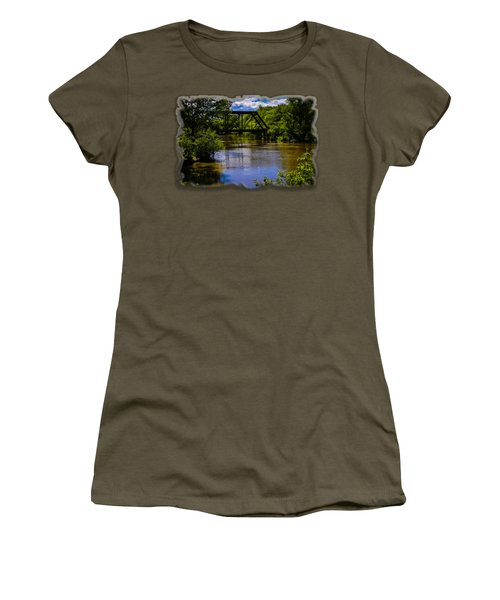 Women's T-Shirt (Junior Cut) featuring the photograph Trestle Over River by Mark Myhaver