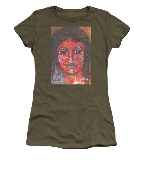 Women's T-Shirt (Athletic Fit) featuring the mixed media Tribal Woman by Prerna Poojara