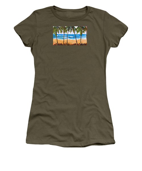 Women's T-Shirt featuring the painting Tropical Palms 2 by Phyllis Howard