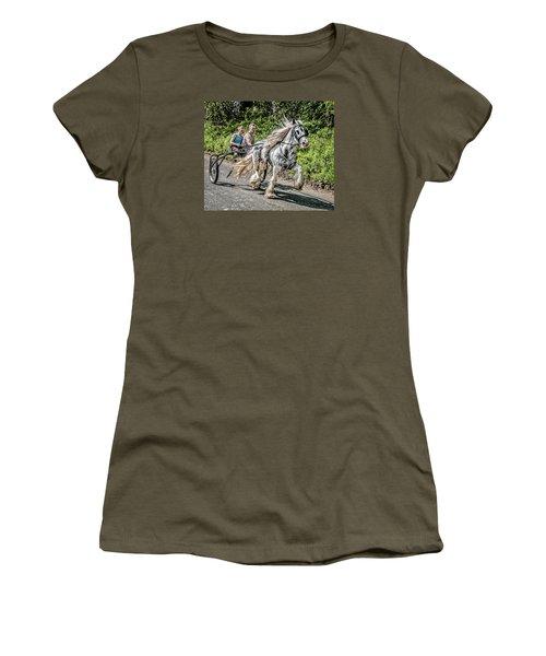 Women's T-Shirt (Junior Cut) featuring the photograph Trotting At Appleby Horse Fair by Brian Tarr