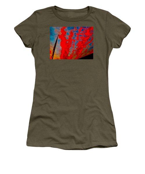 Trump Red Sunset Meets American Flag Women's T-Shirt