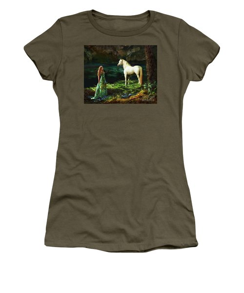 Women's T-Shirt (Athletic Fit) featuring the digital art Trust Me by Melinda Hughes-Berland
