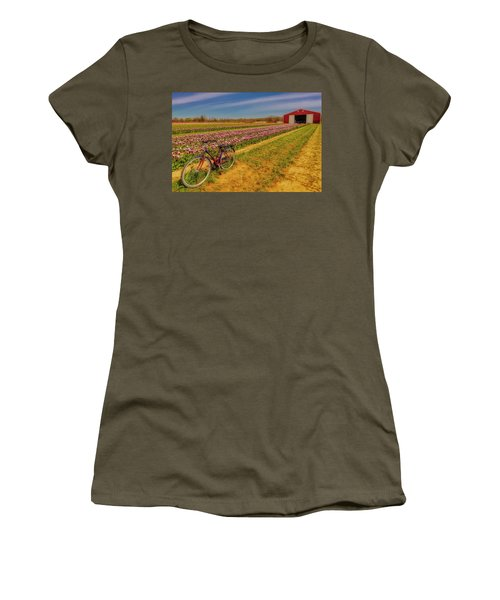 Women's T-Shirt (Athletic Fit) featuring the photograph Tulips, Bicycle And Barn by Susan Candelario