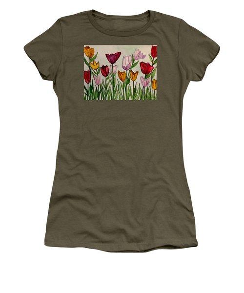 Tulips Women's T-Shirt (Junior Cut) by Lisa Aerts