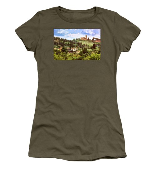 Tuscan Fields And Old Castle In Florence Women's T-Shirt