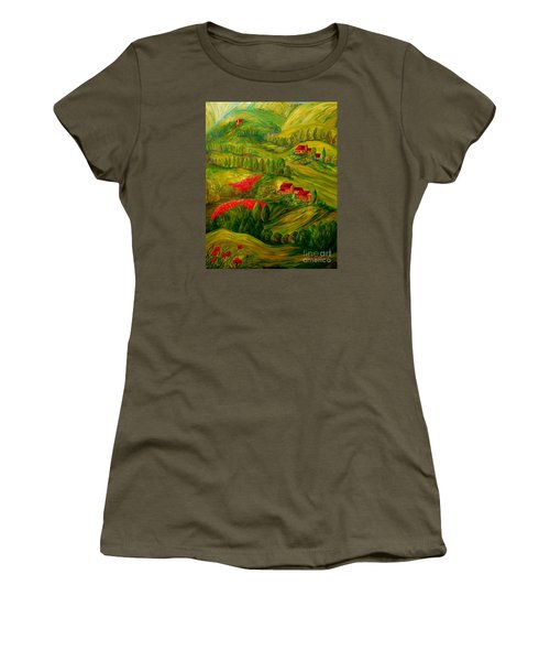 Women's T-Shirt (Junior Cut) featuring the painting Tuscany At Dawn by Eloise Schneider