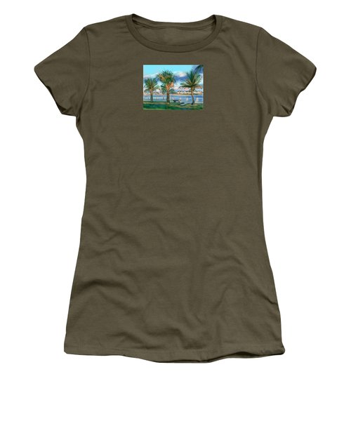 Women's T-Shirt (Junior Cut) featuring the digital art Twilight On Saw Fish Bay by Jean Pacheco Ravinski