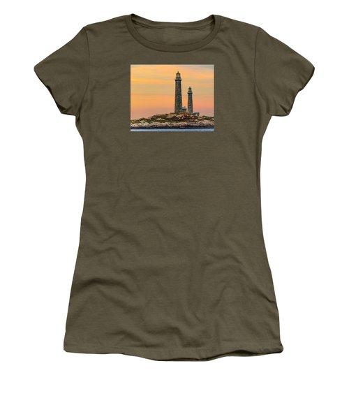 Twin Lights With Morning Glow Women's T-Shirt (Junior Cut) by Tim Kirchoff