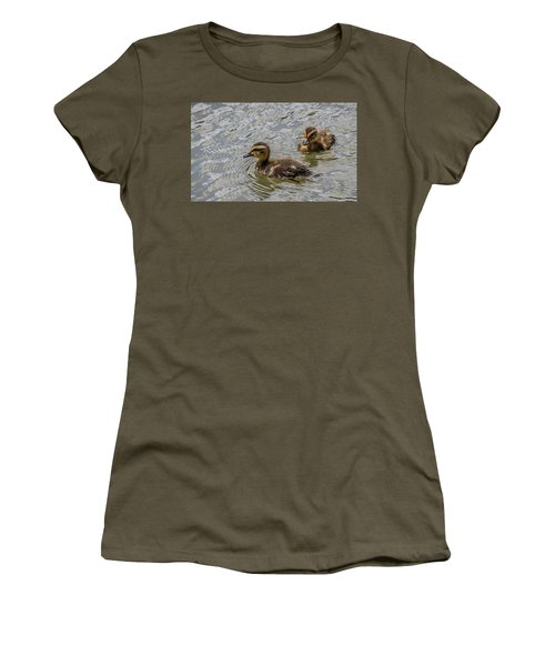 Women's T-Shirt (Junior Cut) featuring the photograph Two Baby Ducks by Ray Congrove