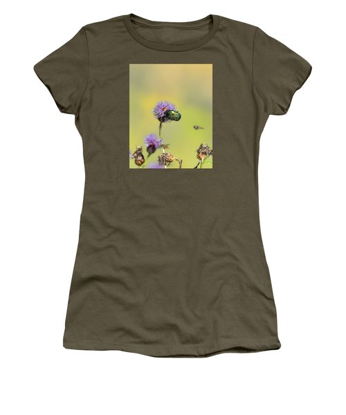 Women's T-Shirt (Junior Cut) featuring the photograph Two Beetles On A Thistle Flower by Leif Sohlman