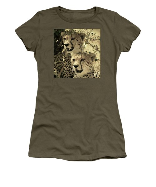 Women's T-Shirt (Athletic Fit) featuring the photograph Two Cheetahs by Frank Stallone